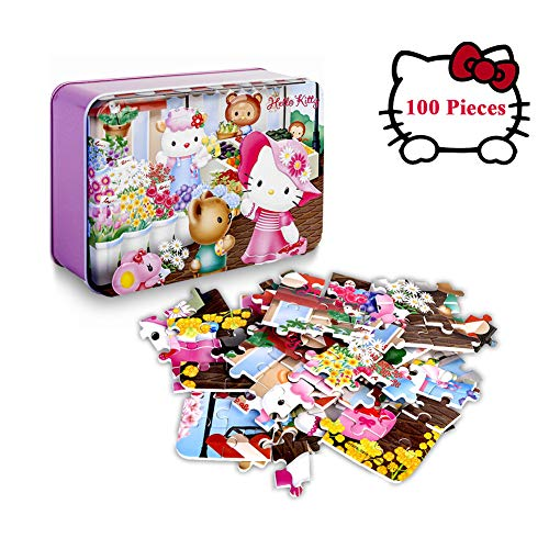 Hello Kitty 100 Piece Puzzles for Kids in a Box,Beautiful Artwork Jigsaw Floor Puzzle Sturdy Cardboard Pieces Mini Puzzles for Children Gifts(4 Seasons -