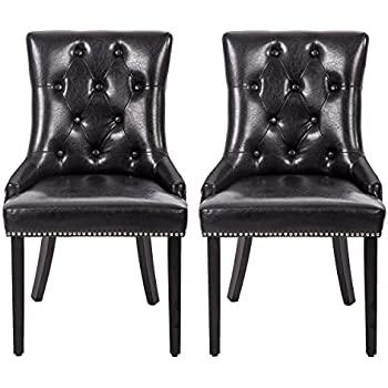 Amazon.com - Modway Silhouette Tufted Faux Leather Parsons Dining ...
