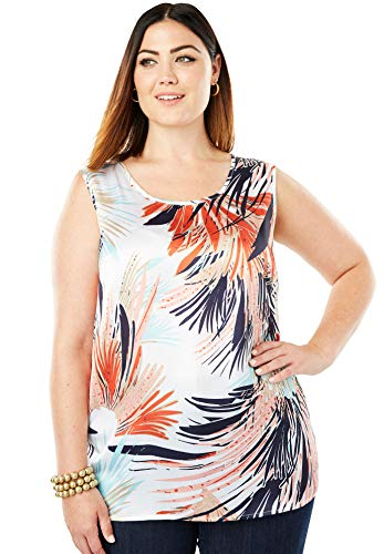 - Jessica London Women's Plus Size Sleeveless Satin Blouse - Multi Feathery Floral, 24 W