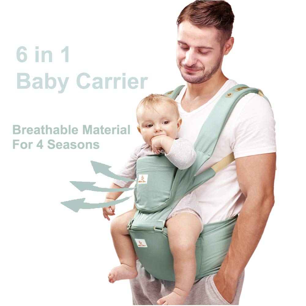 JooBebe Baby Carrier 6 in 1 Usage Front Back Infant Carrier, Soft Shoulder Strap Hip Seat Pad, 360 Ergonomic Protective, Breastfeeding Cover for All Seasons, 0-36 Months Green
