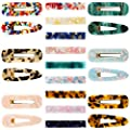 21pcs Acrylic Resin Hair Clips Barrettes Set Maswater Premium Acrylic Hair Clips Fashion Geometric Marble Rectangle Clips Duckbill Alligator Barrettes For Women Ladies Hair Accessories