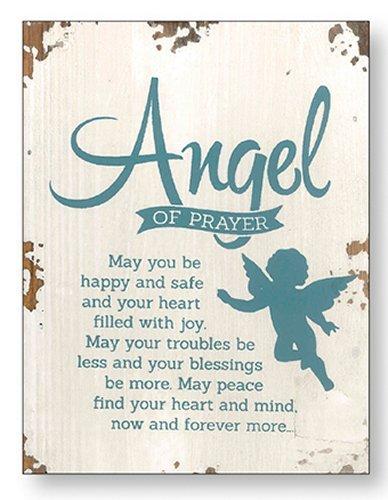 (Distressed Wood Wall Plaque Angel of Prayer & Lourdes Prayer Card)