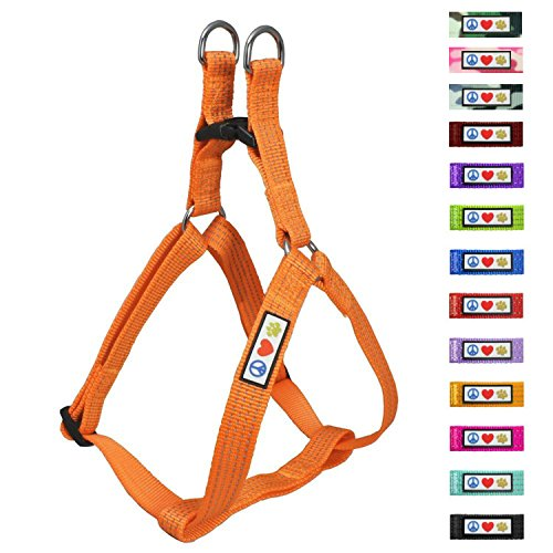 Pawtitas Reflective Step In Dog Harness or Reflective Vest Harness, Comfort Control, Training Walking of your Puppy/Dog Medium Dog Harness M Orange Dog Harness