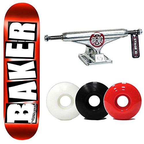 ライフルファランクス宣言BAKER(ベイカー) スケボー コンプリート 限定 インディペンデント ロゴ トラック 139 セット ベイカー baker BRAND LOGO Red Foil 8.0×31.5インチ スケートボード 完成品