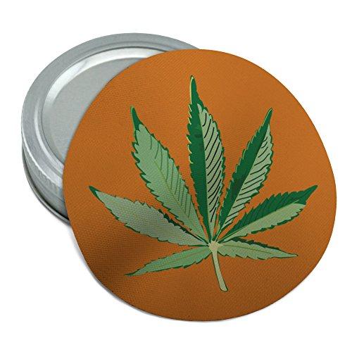 (Marijuana Pot Weed Leaf Bud Ganja Green Mary Jane on Orange Round Rubber Non-Slip Jar Gripper Lid Opener)