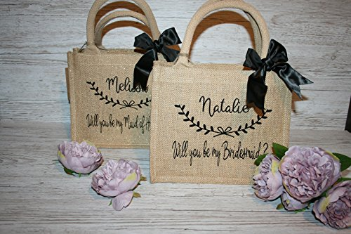 etc with Natural jute Designs4U flower you bridesmaid Bridesmaid party Personalised bag bride be bow girl wedding my Will Natural xRWwCUx7qZ