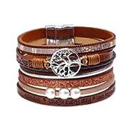 Tree of Life Leather Cuff Bracelet Wrap Bangle Boho Bracelets with Pearl for Women Teen Girl Boy...