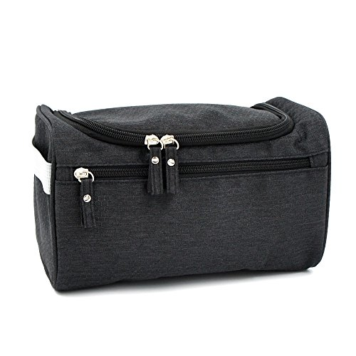 773aebc74690 Travel Toiletry Bag Waterproof Zip Organizer Hanging Cosmetic Makeup Shower  Bag With Large Compartment for Men Women for Trip Vacation Gym (Black) -  Buy ...