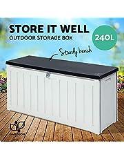 Gardeon 240L Outdoor Storage Box Bench Seat-Black and White
