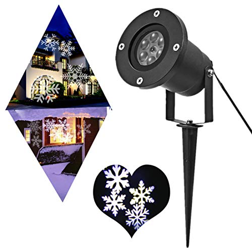 PEYING SOURCE Snowflake Lights Projector Christmas Outdoor White 12W Motion Snowflake Landscape Projector Holiday Decoration Waterproof LED Stage Lights for Home Garden (White)