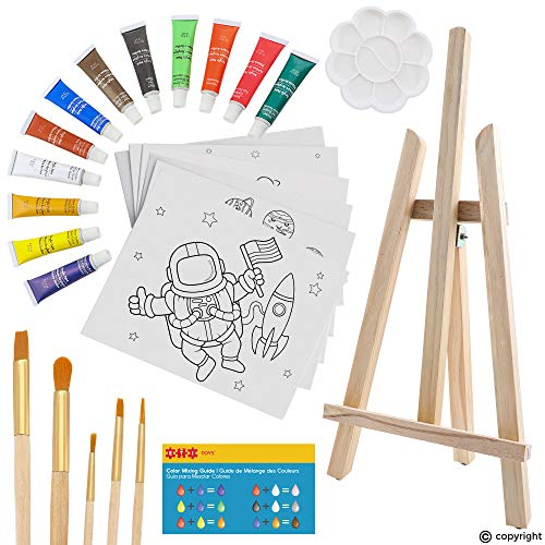 ETI Toys | 26 Piece Kids Art Painting Set with Wood Easel, 6 Space Exploration Themed Canvases, 12 Color Acrylic Paints, 5 Paint Brushes, Palette! Arts Studio for Artist Children Ages 6+ Years Old.