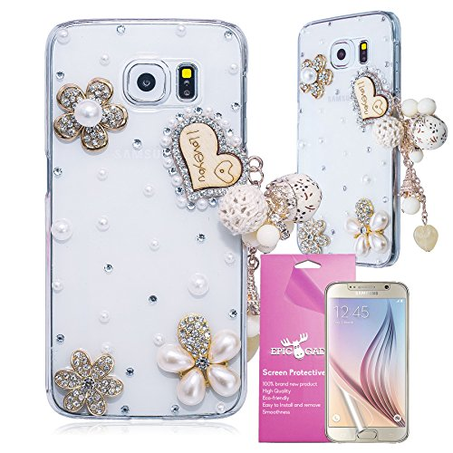Galaxy S6 Case, EpicGadget(TM) Bling 3D Handmade Luxury I Love You Heart Chain Diamond Case Cover for Samsung Galaxy S6 + HD Clear Galaxy S6 VI Screen Protector (US Seller!!)