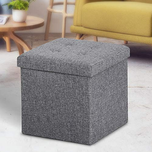 ASLIFE Multifunctional and Folding Storage Ottoman Top Linen Fabric Footrest Coffee Table, Toy Box Chest for Bedroom and…