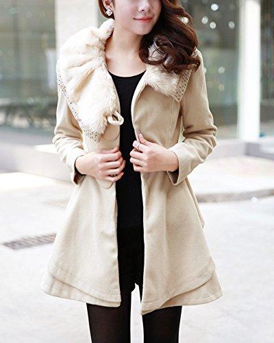 Mi longue Trench Abricot Coat Longues Manches Parka Veste Manteau Femme Tqw7xHtcEn