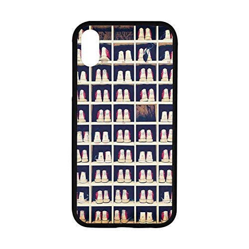 Bowling Party Decorations Rubber Phone Case,Collection of Bowling Shoes in Their Rack Vintage Decorative Compatible with iPhone XR