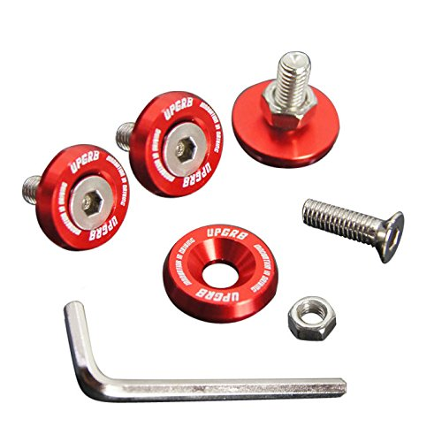 Upgr8 U8201-1002 Aluminum 10mm 4 Pieces Fender Washer Kit (Red) ()