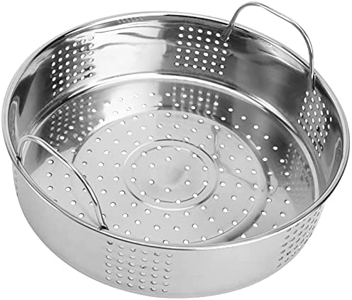 510L%2BBGiEOS. AC FRCOLOR Stainless Steel Steamer Small Food Steamer Basket with Handles Steaming Rack for Rice Vegetables Meat Fish Dumplings Dim Sum     Description The product is a steamer grill with a handle design, made of high- quality stainless steel, durable, environmentally friendly and safe to use. It can be used to steam buns and so on. It is convenient, practical and necessary for families.
