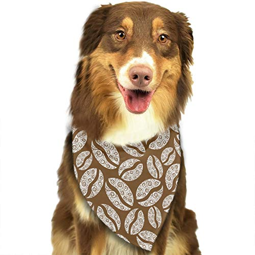 CWWJQ88 White Coffee Bean Pattern Pet Dog Bandana Triangle Bibs Scarf - Easy to Tie On Your Dogs & Cats Pets Animals - Comfortable and Stylish Pet - Coffee Ascot
