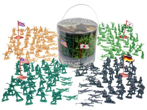 Army Men Action Figures – 200+ Toy Soldiers of WWII – Big Bucket of Life-like Military Men in Realistic Poses – 4 World War II Flags Included