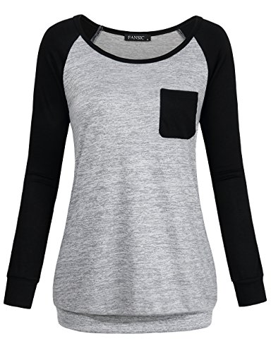 FANSIC Long Sleeve T Shirt for Juniors, Women Casual Lightweight Knitted Sweatshirts Blouse Tops with Pocket Black and Gray Large