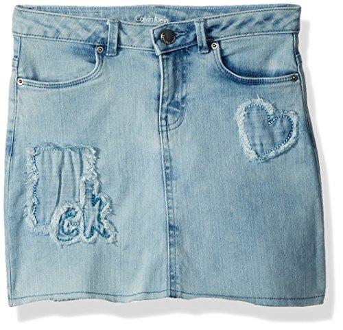 Girls Jean Skirt (Calvin Klein Big Girls' Broderie Cut-Off Denim Skirt, Pebble Patch, 7)