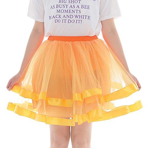 Larga orange Falda Aini B Para Manga Mujer Enaguas qtUUPC