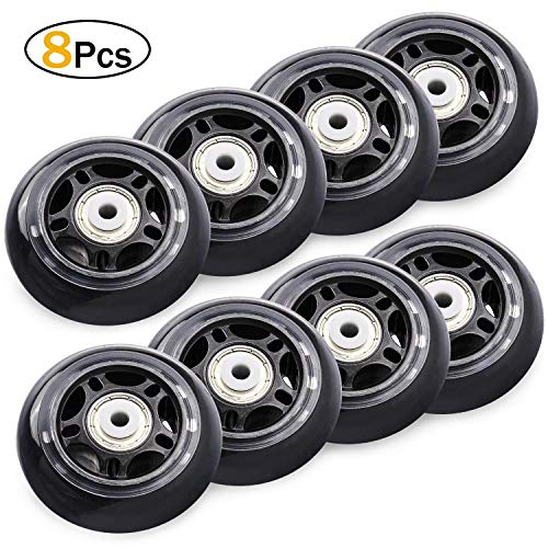 TOBWOLF 8Pcs Inline Skate Wheels, Replacement Rollerblade Roller Wheels with Bearings 70mm 82A