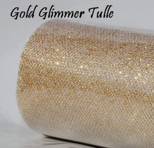 Wedding GLITTER Tulle Roll 6in x 30ft GOLD Sparkling Tulle (10 yards) by Maple Creek Company B008LFUCTA