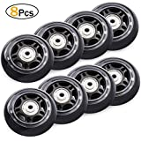 TOBWOLF 70mm 82A, 76mm 84A Roller Blade Wheels 8 Pack Replacement Inline Skate Wheels with Bearings ABEC 7 - Black
