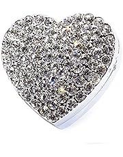 Bestbling - Ambientador para coche, diseño de corazón con cristales brillantes, para colocar en la rejilla de ventilación del coche, Blanco, 48*45mm