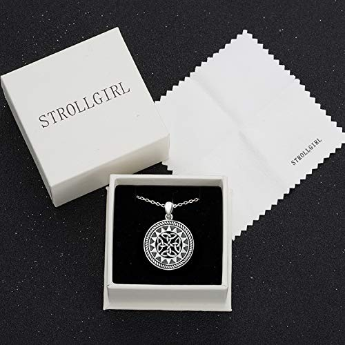 743204b6622d STROLLGIRL 925 Sterling Silver Jewelry Oxidized Good Luck Irish Knot Celtic  Knot Medallion Round Pendant Necklace