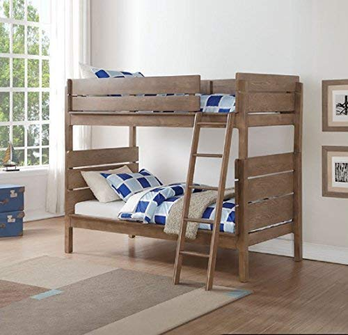 Major-Q Antique Oak Finish Wood Frame Twin Over Twin Bunk Bed with Easy Access Guard Rail (7037400)