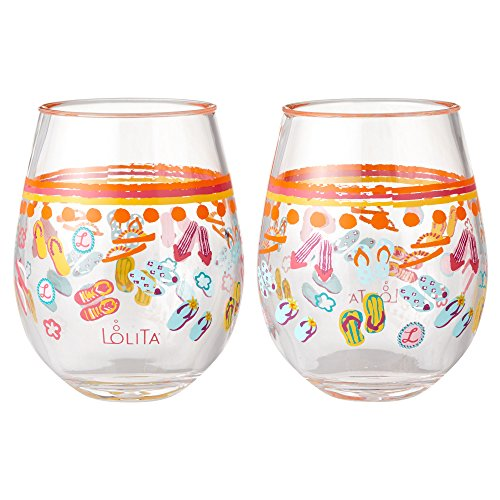 Enesco Designs by Lolita Flip Flops Too Acrylic Stemless Wine Glasses, Set of 2, 17 oz.