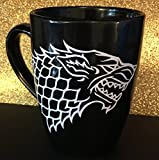 Game of Thrones inspired coffee mug, House Stark inspired coffee mug, Dire wolf coffee mug
