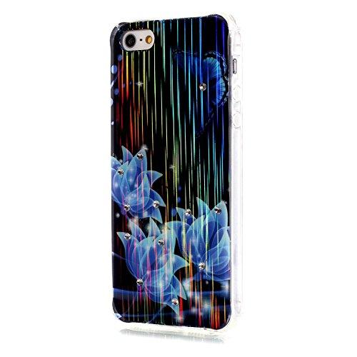 Voguecase® für iPhone SE hülle, Schutzhülle / Case / Cover / Hülle / TPU Gel Skin (LS/Clear Blue Blume) + Gratis Universal Eingabestift