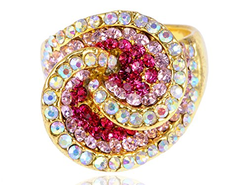 Alilang Womens Yellow Golden Tone Pink Rhinestones Abstract Shell Swirl -