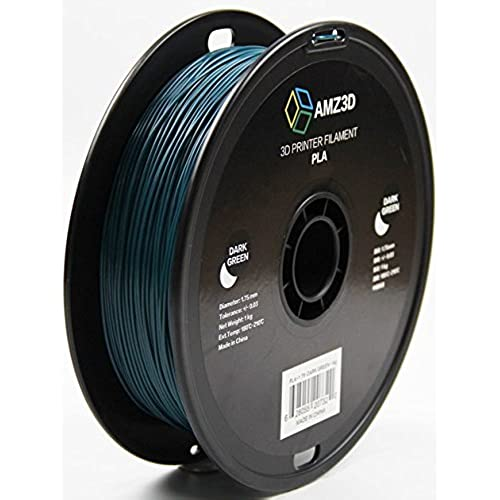 1.75mm Dark Green PLA 3D Printer Filament - 1kg Spool (2.2 lbs) - Dimensional Accuracy +/- 0.03mm