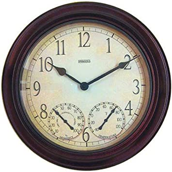 Nice Springfield Outdoor Garden Clock With Thermometer And Hygrometer, 14 Inch