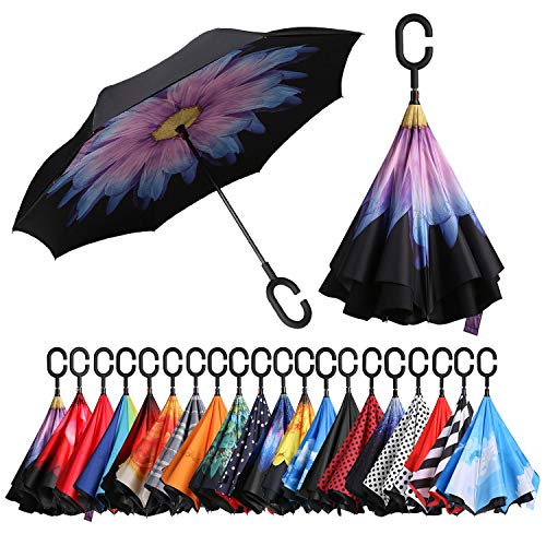 (BAGAIL Double Layer Inverted Umbrellas Reverse Folding Umbrella Windproof UV Protection Big Straight Umbrella for Car Rain Outdoor with C-Shaped Handle(Purple Daisy))