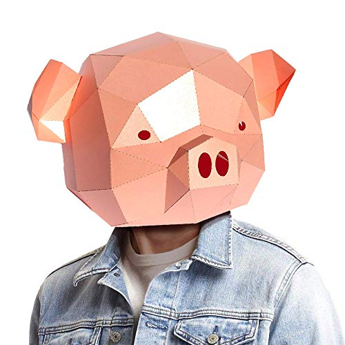 Animal 3D mask Series 2 Party Halloween Helmet DIY Cosplay Creative Handwork Funny Masker Lovely (Pig) -