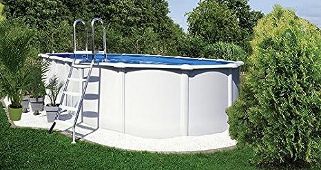 kwad Set (5 piezas): » ovalado Pool pie con acero inoxidable escalera « (en 3 tamaños) 130 cm x 370 cm x 730 cm: Amazon.es: Jardín