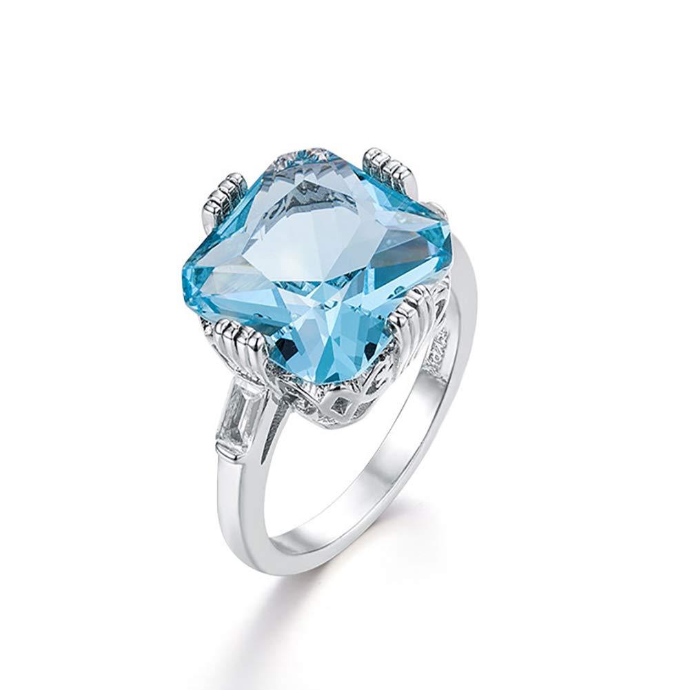 Slendima Square Rhinestone Inlaid Elegant Wedding Ring Women Evening Party Engagement Bridal Jewelry - Size 6-10 Sea Blue US 7