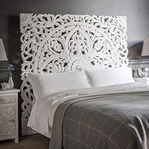 Amazon Com Queen Size Boho Carved Wood Bed Headboard Hand