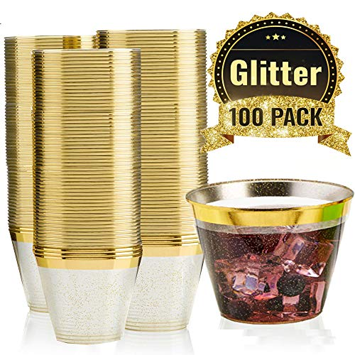 Plastic Sangria Glasses (100 GOLD GLITTER GOLD RIMMED Plastic Cups ~ 9 Oz Disposable Wedding Party Cup ~ Old Fashioned Tumblers by F-32 Signature)