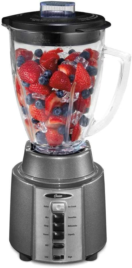 Oster Rapid Blend 300 Blender with 8-Speeds and 6-Cup Glass Jar, Gray