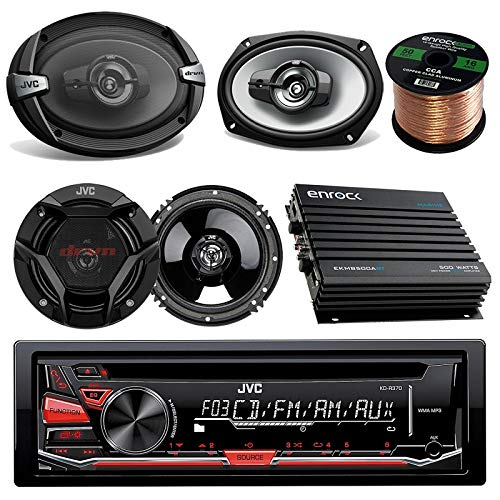 JVC KDR370 CD/MP3/WMA Receiver Bundle Combo with 2X CSDR693 6x9 3-Way Stereo Coaxial Speakers + 2X CSDR620 6.5