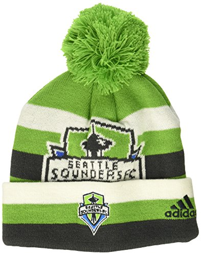 Hat Knit Cuffed Green (OuterStuff MLS Seattle Sounders FC R S8FDS Youth Boys Cuffed Knit Hat With Pom, One Size (8), Green)