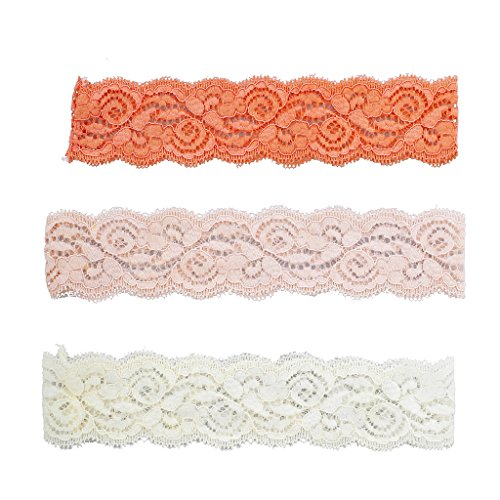 Lux Accessories Orange Pink and Ivory Lace Applique Stretch Headband Pack -