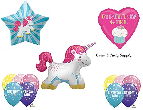 WHITE UNICORN Happy Birthday PARTY Balloons Decorations Supplies By Anagram