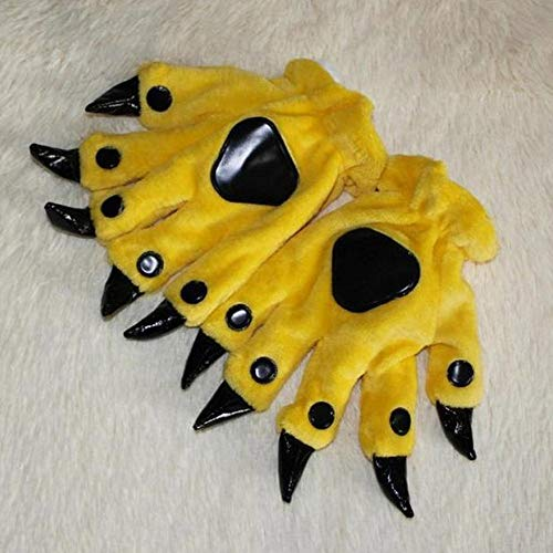 HotTuscom Animal Cartoon Paw Gloves Plush Keep Warm Claws|for Boy Girl Dinosaur Bear Cosplay Flannel Gloves (8 Colors) (Yellow)
